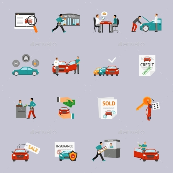 Car Dealership Icon Set - Business Icons