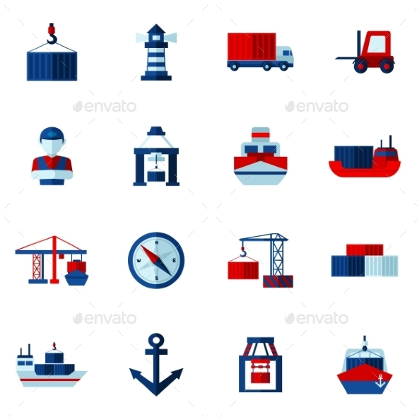 Seaport Flat Icons  Set  - Abstract Icons