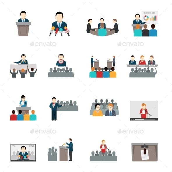 Public Speaking Icons Set - People Characters