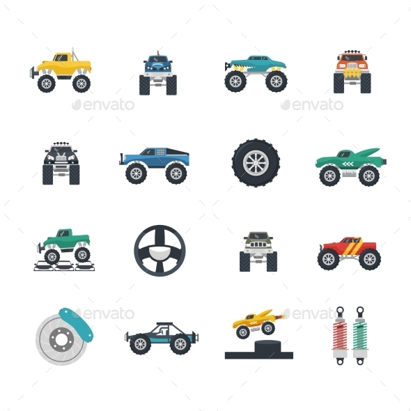 Monster Truck Icons Set - Miscellaneous Icons