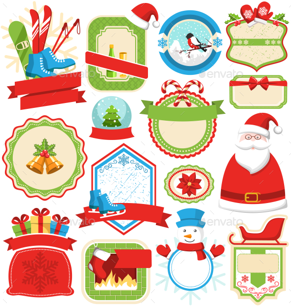 Set of Christmas Winter Lables Icons Flat on White - Seasons/Holidays Conceptual