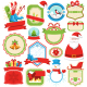 Set of Christmas Winter Lables Icons Flat on White - GraphicRiver Item for Sale