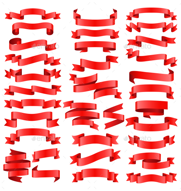 Set of Red Celebration Curved Ribbons Variations - Seasons/Holidays Conceptual