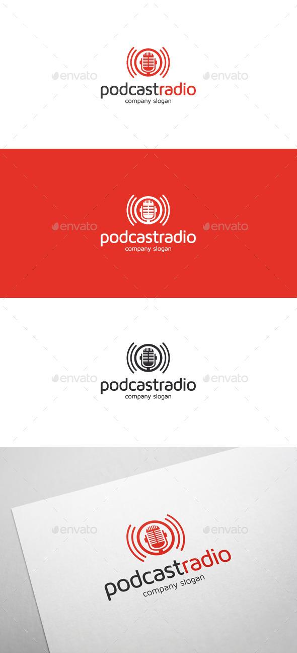 Podcast Radio Logo - Objects Logo Templates