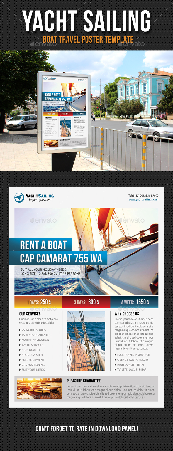 Yacht Sailing Poster Template V09 - Signage Print Templates
