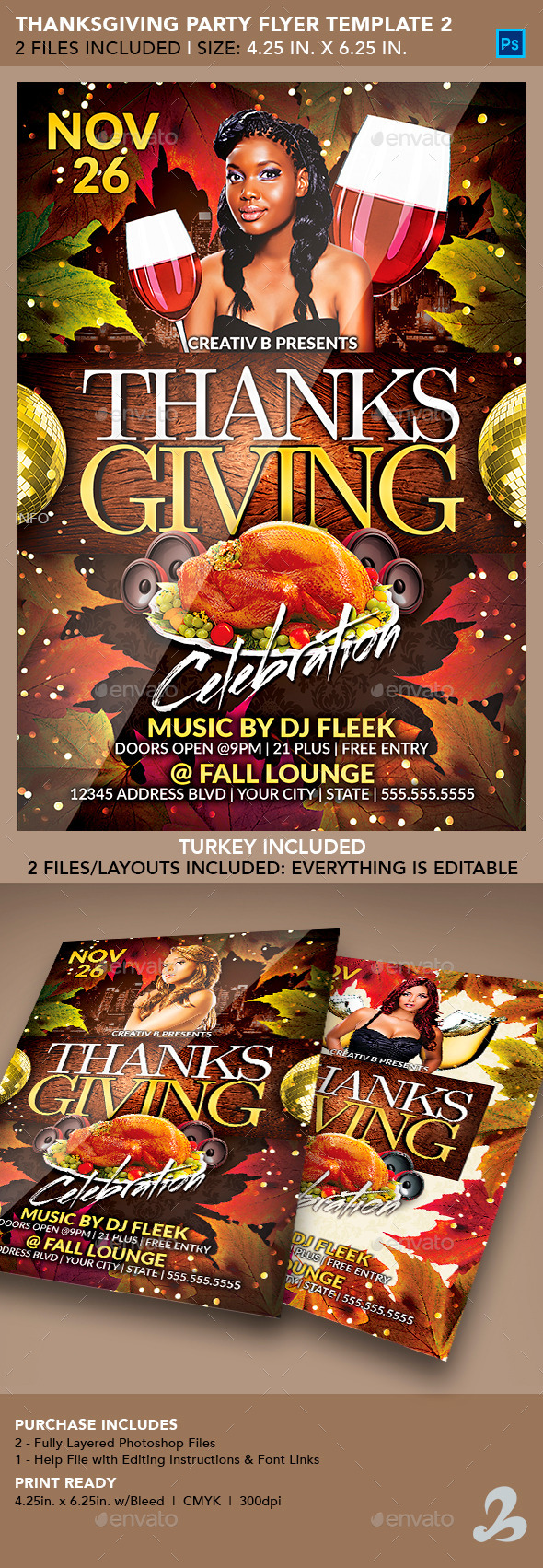 Thanksgiving Party Flyer Template 2 - Clubs & Parties Events