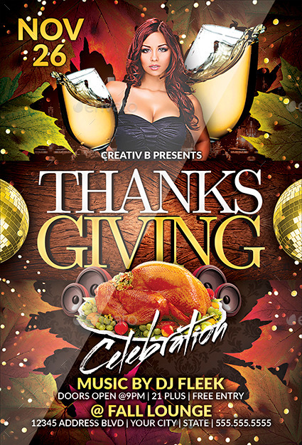 Preview Image Set 01 Thanksgiving Party Flyer Template 2 Jpg