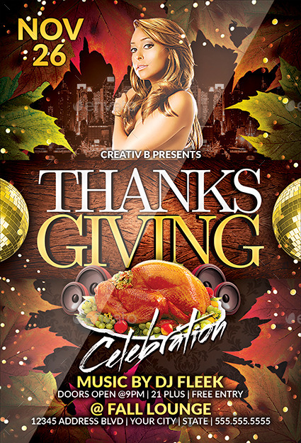 Thanksgiving Party Flyer Template 2 by CreativB | GraphicRiver