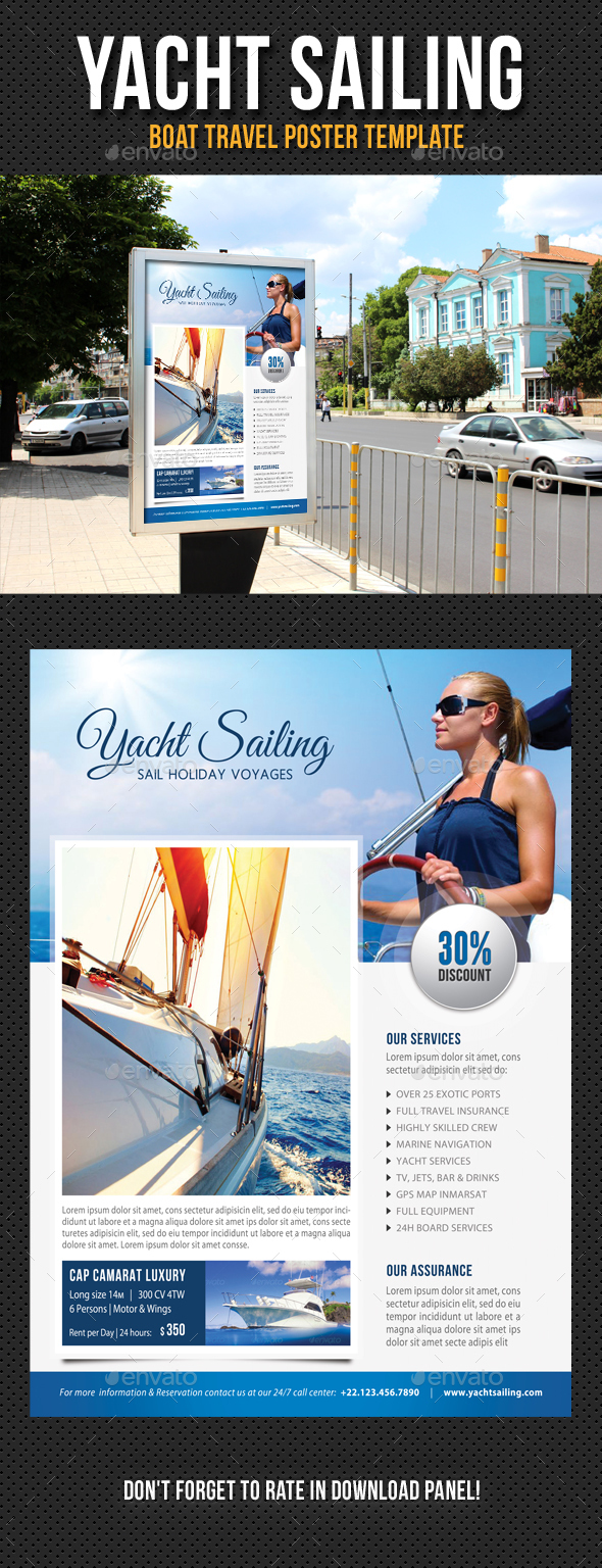 Yacht Sailing Poster Template V10 - Signage Print Templates