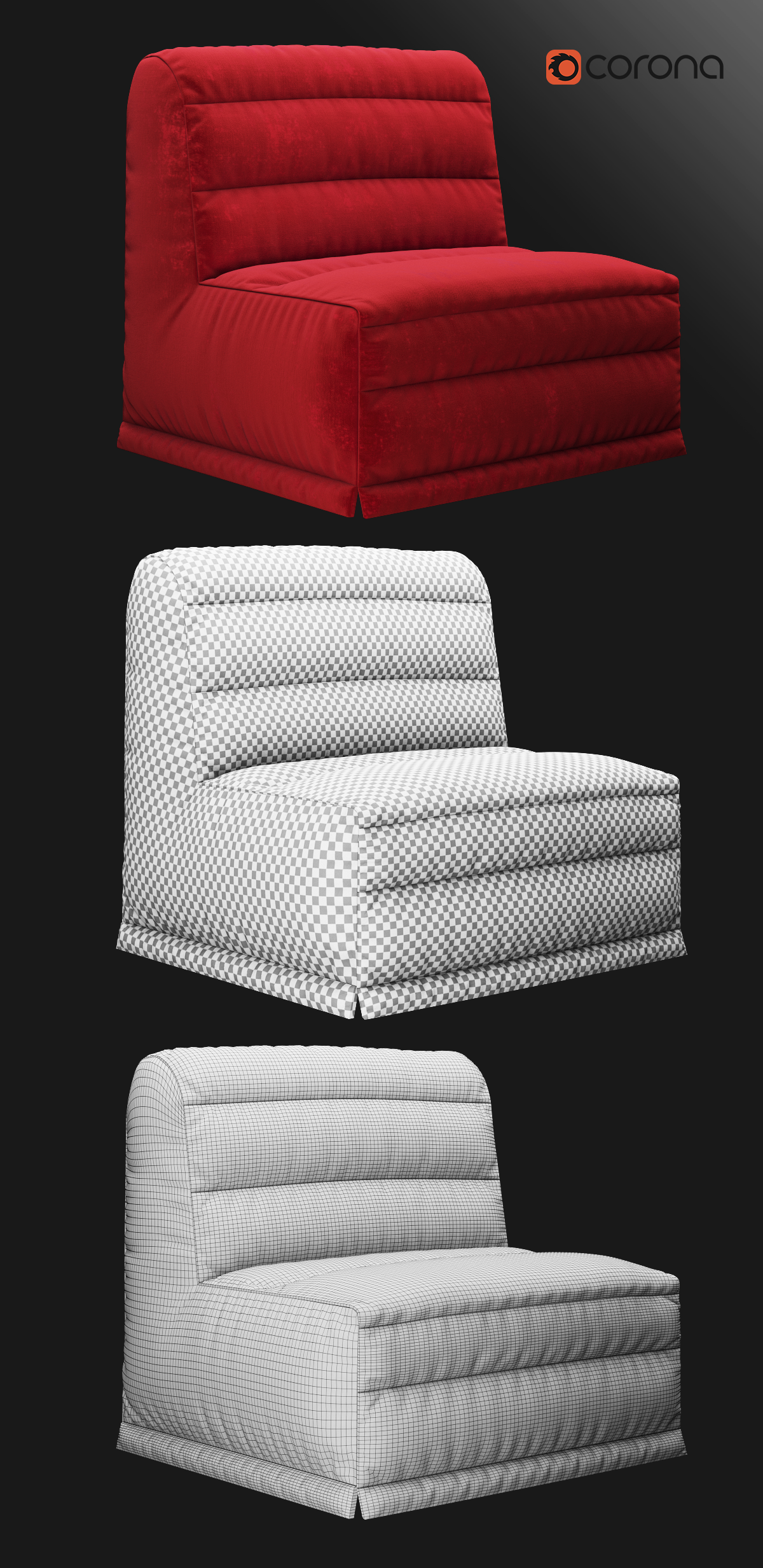 Velour sofa bed by rnax 3docean for Velour divan beds