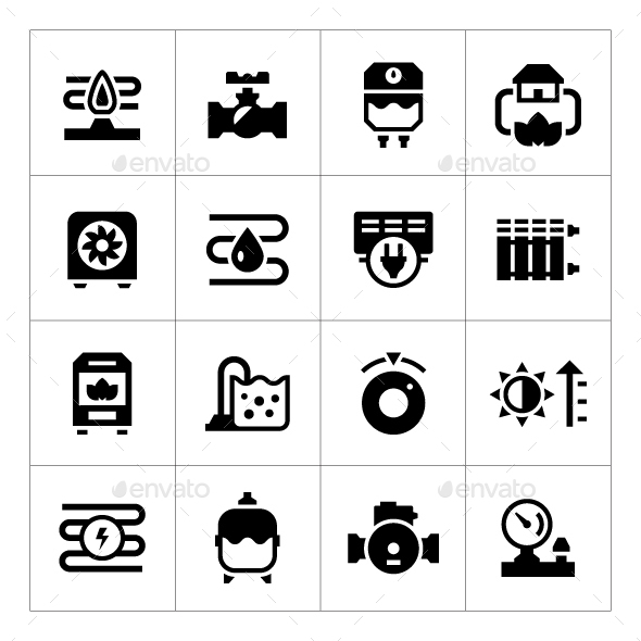 Set Icons of Heating - Man-made objects Objects