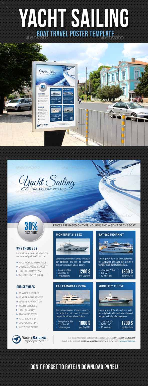 Yacht Sailing Poster Template V11 - Signage Print Templates