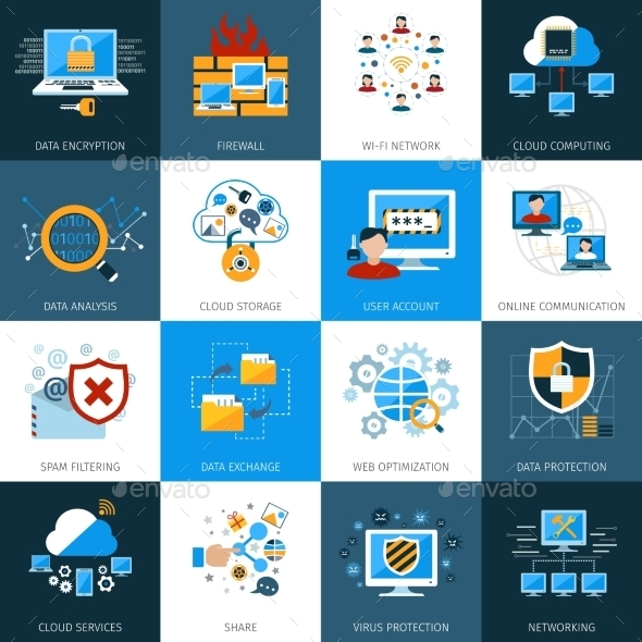 Network Security Icons Set - Technology Icons