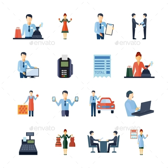 Different Salesmen Icons Set - Business Icons