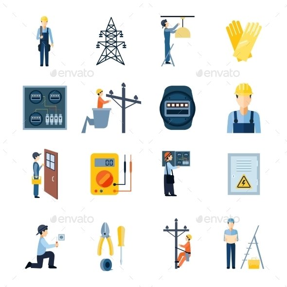 Electricity Repairmen Icons Set  - Technology Icons