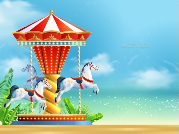Realistic Carousel Background - Backgrounds Decorative
