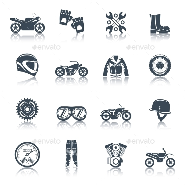 Motorcycle Icons Black Set - Miscellaneous Vectors