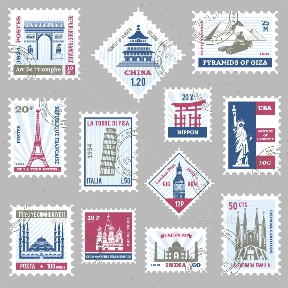 Postage Stamps Set - Buildings Objects