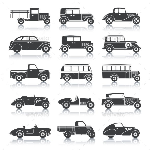 Retro Cars Set - Miscellaneous Icons