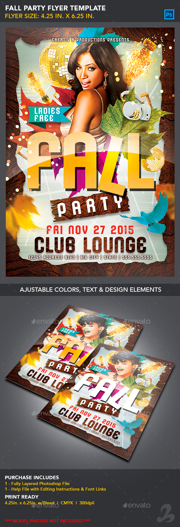 Fall Party Flyer Template - Clubs & Parties Events