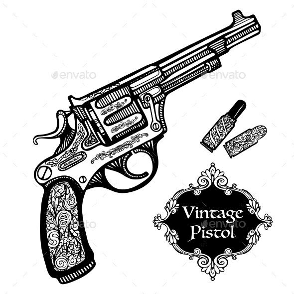 Hand Drawn Retro Pistols - Decorative Symbols Decorative