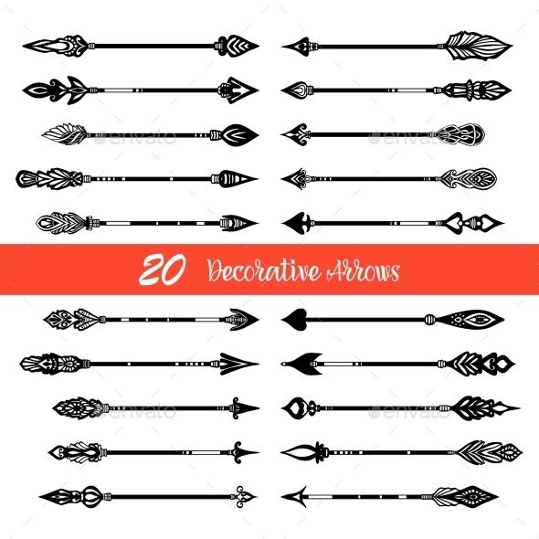 Hand Drawn Doodle Arrows Set - Decorative Symbols Decorative