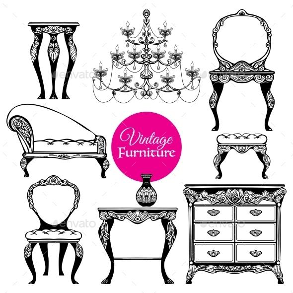 Hand Drawn Vintage Furniture Style Set - Decorative Symbols Decorative