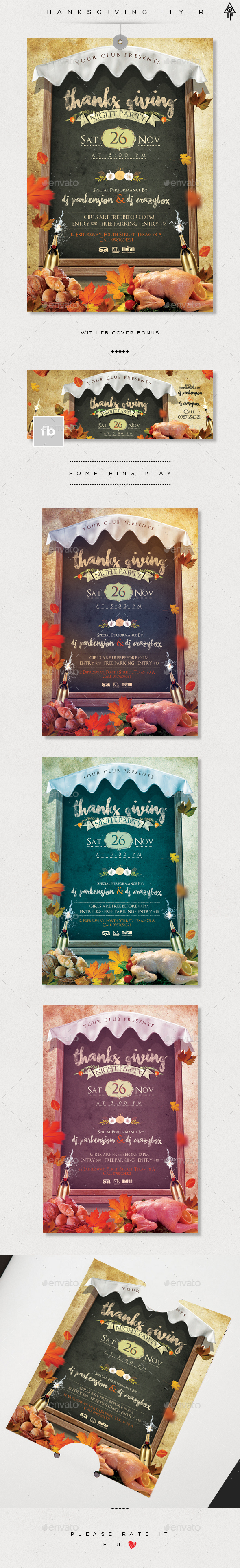 Thanksgiving Party Flyer and Facebook Cover - Holidays Events
