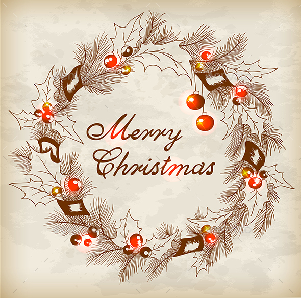 Vintage Hand Drawn Christmas Wreath - Christmas Seasons/Holidays