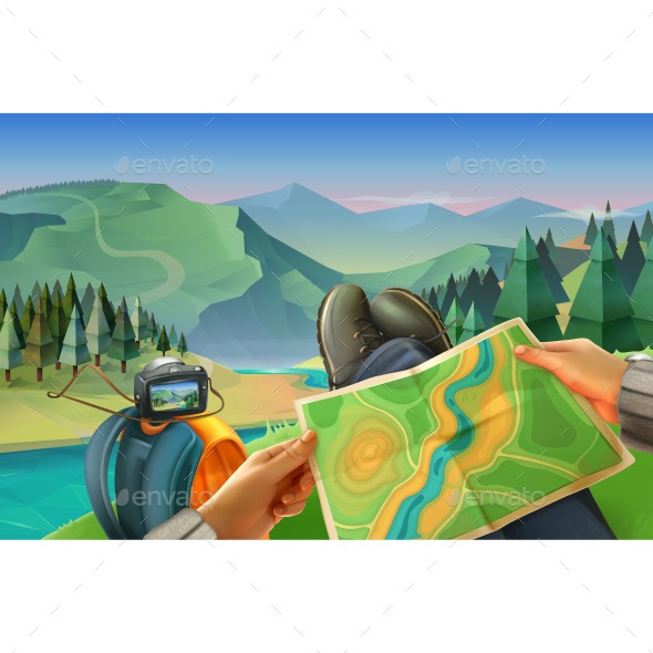 Traveler with a Map  - Landscapes Nature