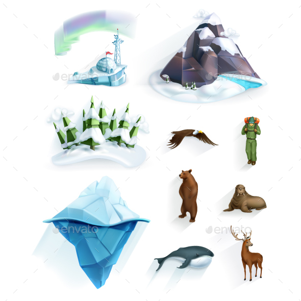 Polar Nature Icons - Animals Characters