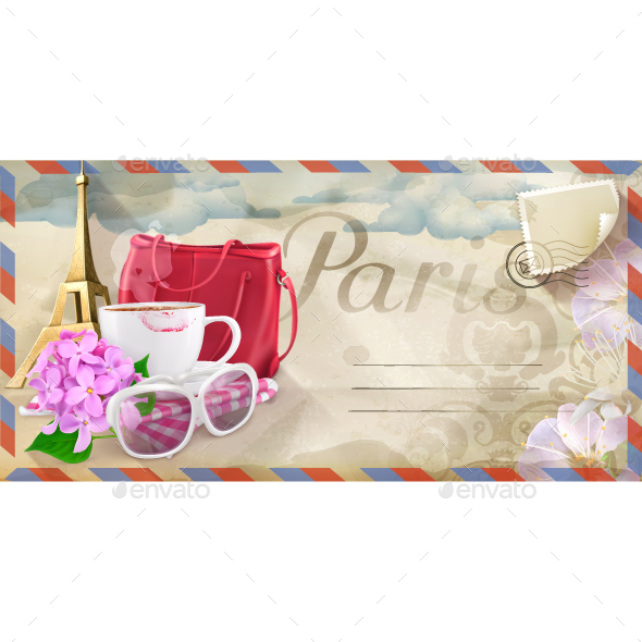 Paris Vector Postcard - Backgrounds Decorative