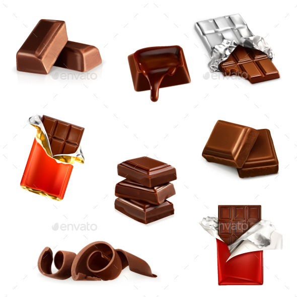 Chocolate Bars and Pieces - Food Objects