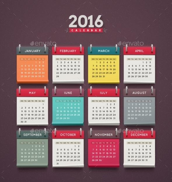 Calendar 2016 - Miscellaneous Vectors