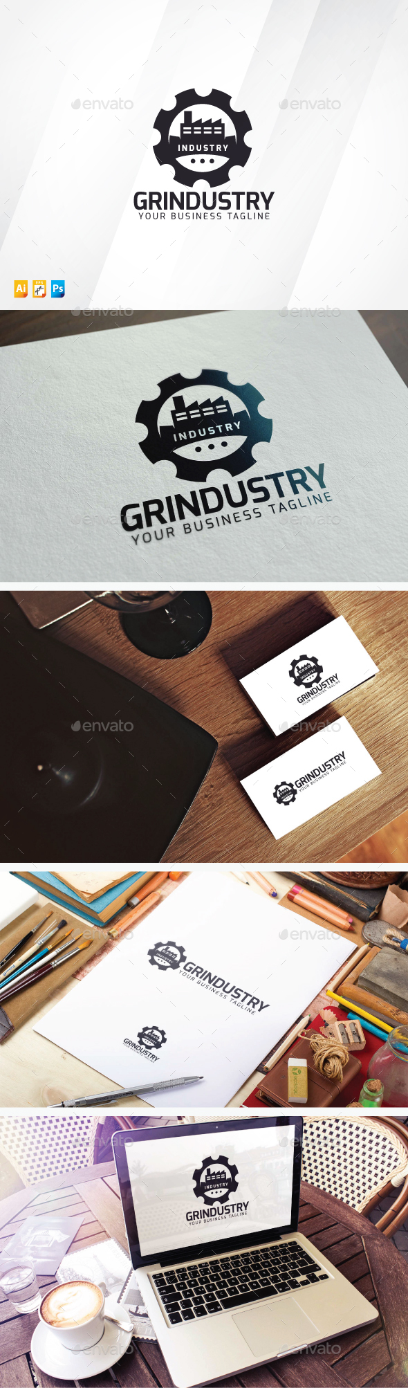Gear Industry - Buildings Logo Templates