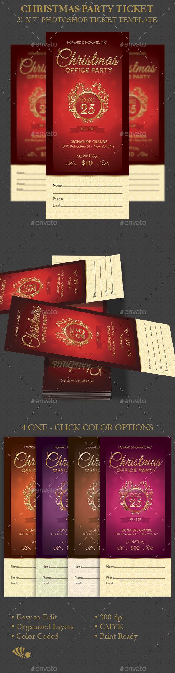 Christmas Party Ticket Template - Miscellaneous Print Templates