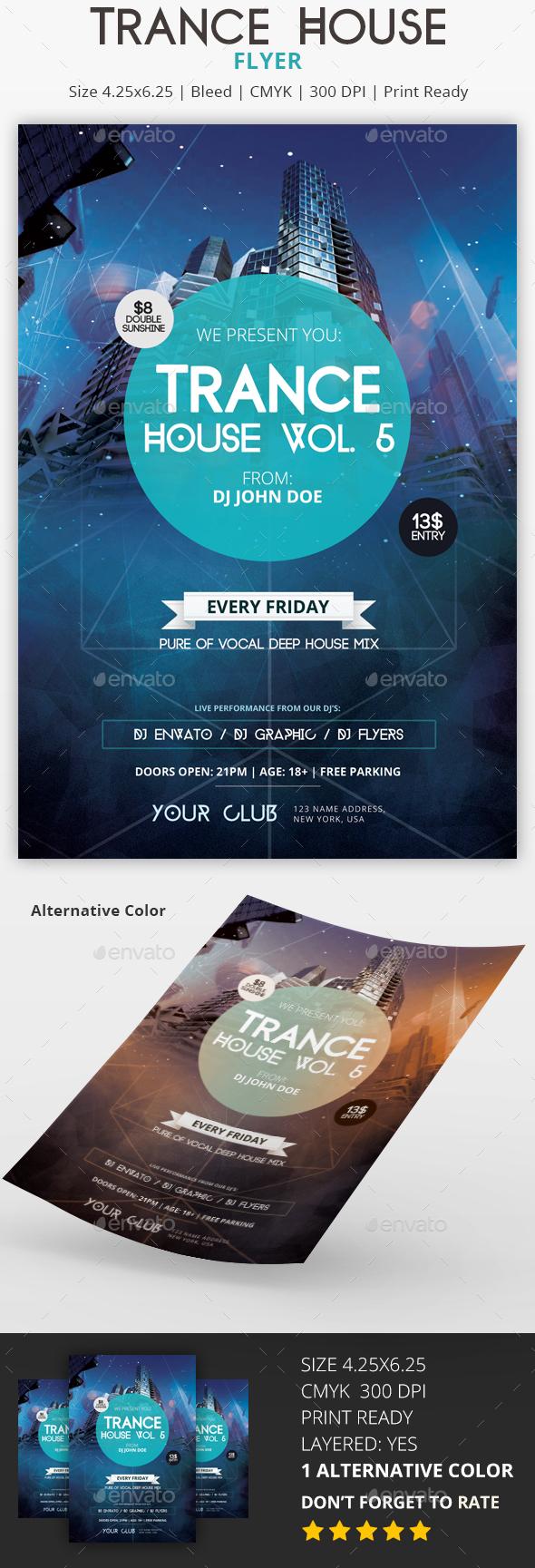 Trance House - PSD Flyer - Flyers Print Templates