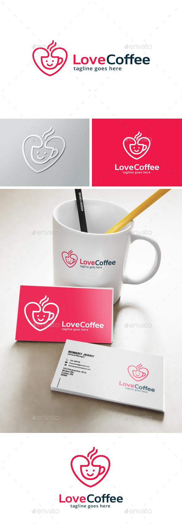 Love Coffee Logo - Food Logo Templates