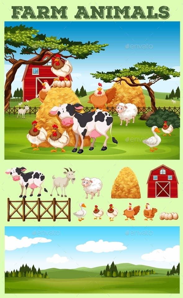 Farm Theme with Animals and Field - Animals Characters