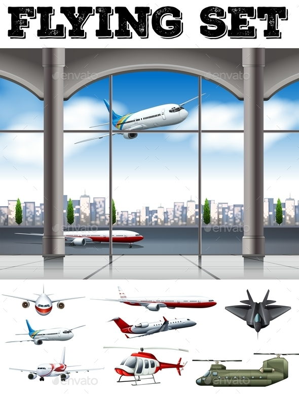 Airport Scene with Many Airplanes - Miscellaneous Vectors