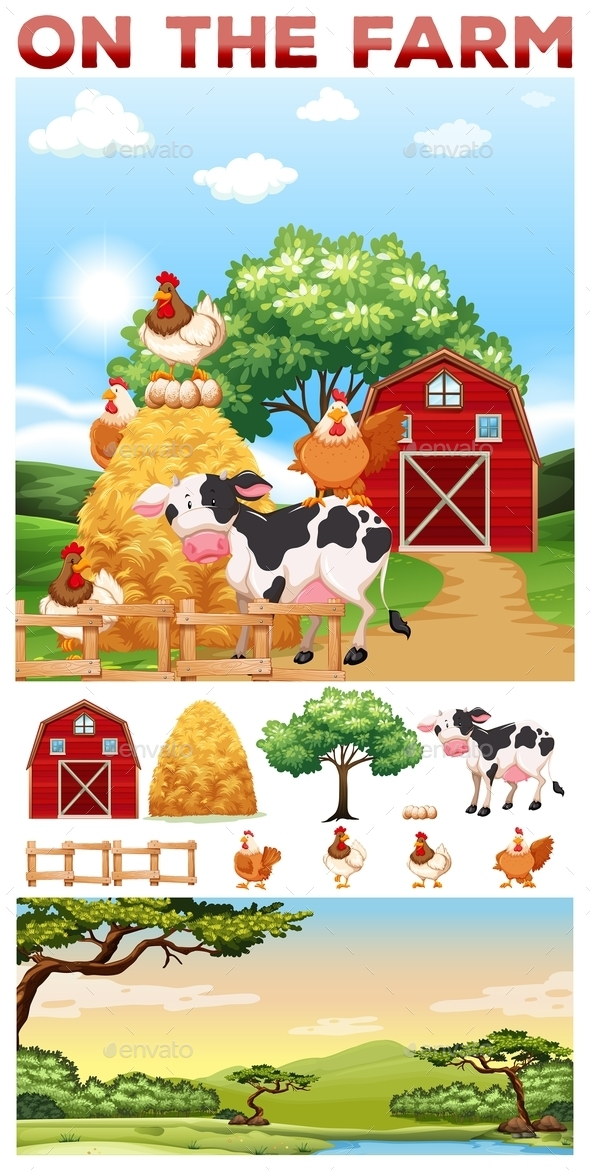 Farm Animals Living on the Farm - Animals Characters