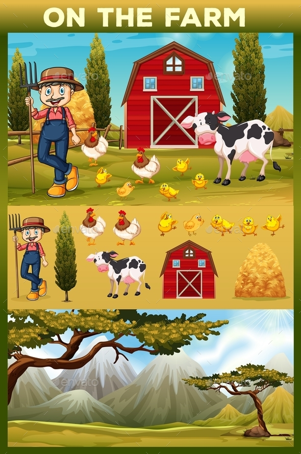 Farmer and Animals on Farmland - People Characters