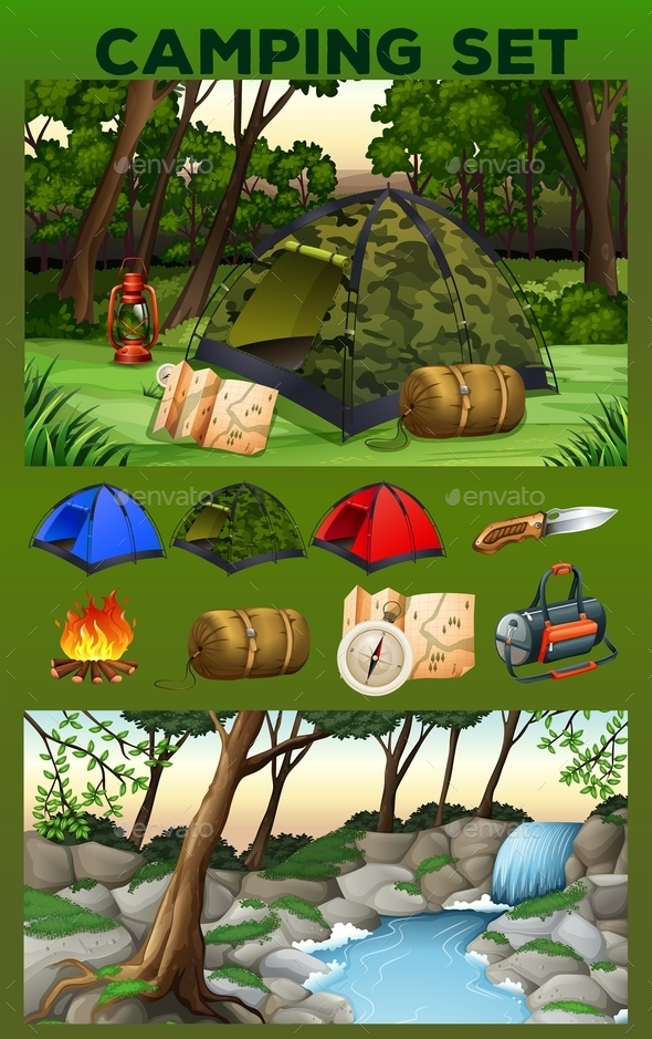 Camping Equipment and Field - Sports/Activity Conceptual