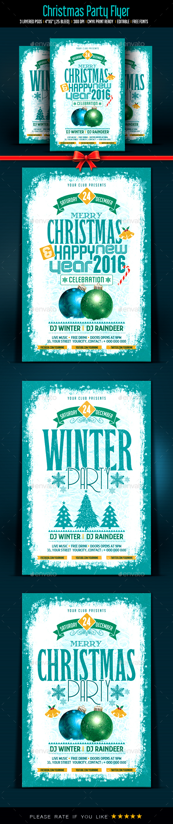 Christmas Celebration & Winter Party Flyer - Clubs & Parties Events