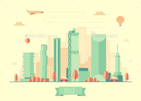 Mexico Skyline Illustration Flat Design - Landscapes Nature