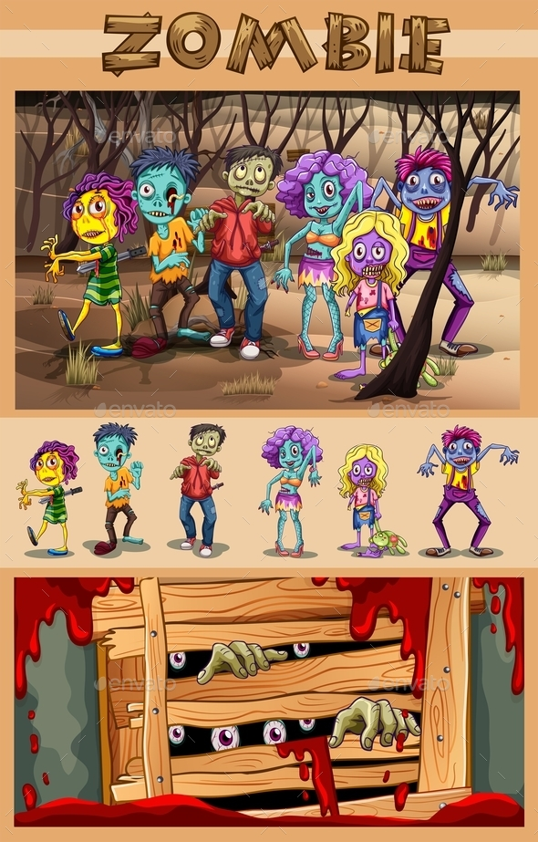 Zombies Walking in the Forest - People Characters