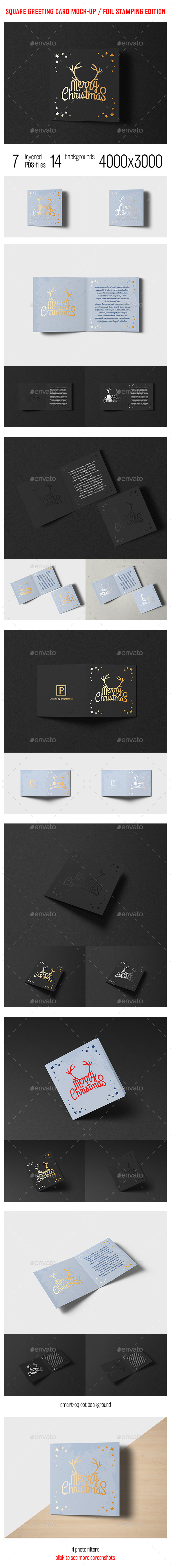 Square Greeting Card Mock-Up Foil Stamping Edition - Miscellaneous Print