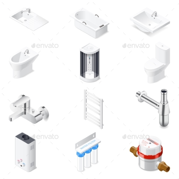 Sanitaru Engineering Detailed Isometric Icon Set - Miscellaneous Vectors