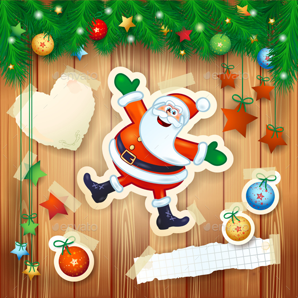 Christmas Background with Happy Santa on Wood - Christmas Seasons/Holidays