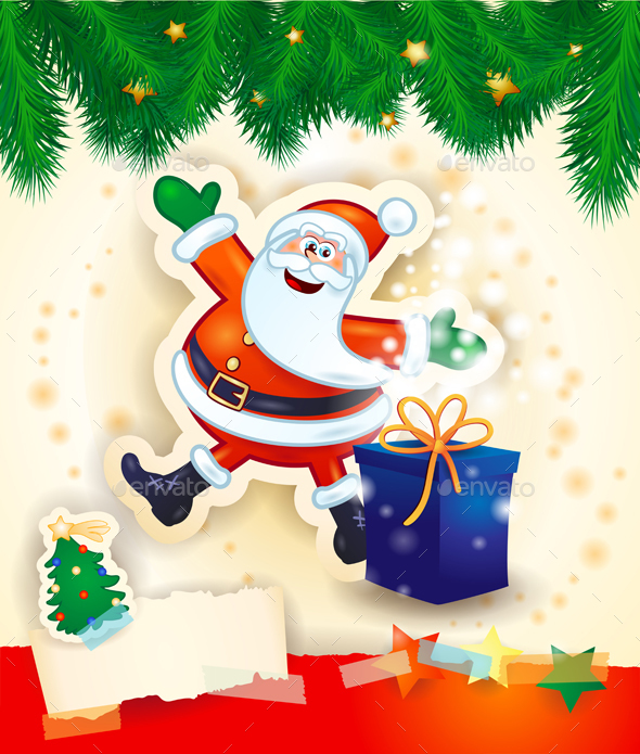 Christmas Background with Santa and Gift - Christmas Seasons/Holidays